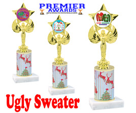 Ugly Sweater theme trophy. Choice of art work.  Multiple trophy heights available.  7517