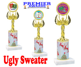 Ugly Sweater theme trophy. Choice of art work.  Multiple trophy heights available.  80087