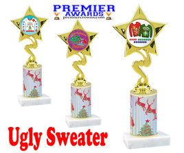 Ugly Sweater theme trophy. Choice of art work.  Multiple trophy heights available.  80106