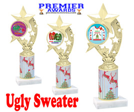 Ugly Sweater theme trophy. Choice of art work.  Multiple trophy heights available.  h208