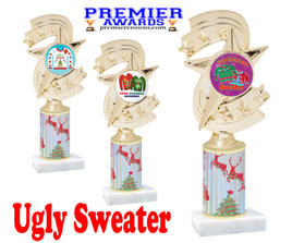 Ugly Sweater theme trophy. Choice of art work.  Multiple trophy heights available.  h300