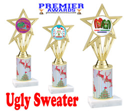 Ugly Sweater theme trophy. Choice of art work.  Multiple trophy heights available.  ph30