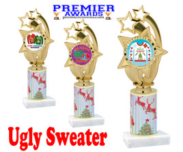 Ugly Sweater theme trophy. Choice of art work.  Multiple trophy heights available.  ph55
