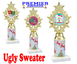 Ugly Sweater theme trophy. Choice of art work.  Multiple trophy heights available.  ph75