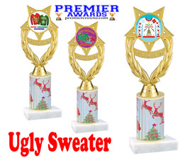 Ugly Sweater theme trophy. Choice of art work.  Multiple trophy heights available.  ph97