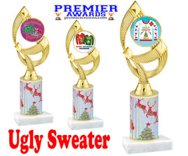 Ugly Sweater theme trophy. Choice of art work.  Multiple trophy heights available.  ph108