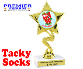 Tacky Socks Trophy.  Great award for your Holiday events, parties and pageants!  80106
