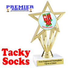 Tacky Socks Trophy.  Great award for your Holiday events, parties and pageants!  ph30