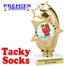 Tacky Socks Trophy.  Great award for your Holiday events, parties and pageants!  ph55