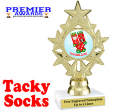Tacky Socks Trophy.  Great award for your Holiday events, parties and pageants!  ph75