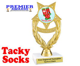 Tacky Socks Trophy.  Great award for your Holiday events, parties and pageants!  ph97