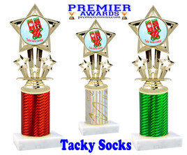 Tacky Socks Trophy.  Great award for your Holiday events, parties and pageants!  Choice of column color.  767