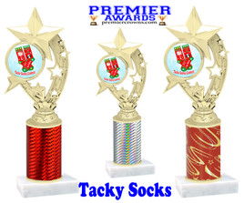 Tacky Socks Trophy.  Great award for your Holiday events, parties and pageants!  Choice of column color.  h208