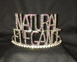 "2  3/4"" Natural Elegance crown.  Dark purple stones with side combs"