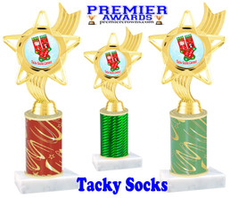 Tacky Socks Trophy.  Great award for your Holiday events, parties and pageants!  Choice of column color.  ph27