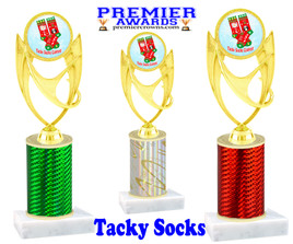 Tacky Socks Trophy.  Great award for your Holiday events, parties and pageants!  Choice of column color.  ph28