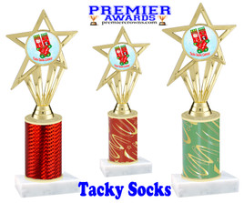 Tacky Socks Trophy.  Great award for your Holiday events, parties and pageants!  Choice of column color.  ph30