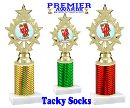 Tacky Socks Trophy.  Great award for your Holiday events, parties and pageants!  Choice of column color.  ph75