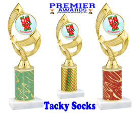 Tacky Socks Trophy.  Great award for your Holiday events, parties and pageants!  Choice of column color.  ph108