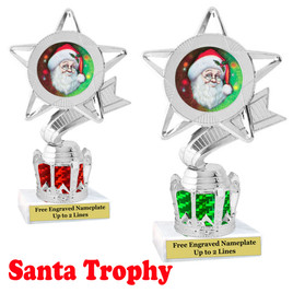 Santa Trophy with silver crown riser.  Great trophy for your Holiday events, pageants and more.