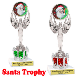 Santa Trophy with silver crown riser.  Great trophy for your Holiday events, pageants and more.  002