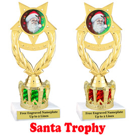 Santa Trophy with gold crown riser.  Great trophy for your Holiday events, pageants and more.  ph97