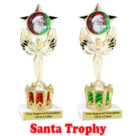 Santa Trophy with gold crown riser.  Great trophy for your Holiday events, pageants and more.  7517