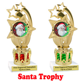 Santa Trophy with gold crown riser.  Great trophy for your Holiday events, pageants and more.  ph55