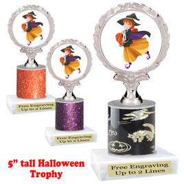 "Halloween theme trophy.  5"" tall trophy.  Delightful trophy for your Halloween pageants, events, contests and more"