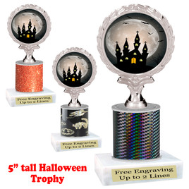 "Halloween theme trophy.  5"" tall trophy.  Delightful trophy for your Halloween pageants, events, contests and more.  003"