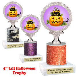 "Halloween theme trophy.  5"" tall trophy.  Delightful trophy for your Halloween pageants, events, contests and more.  004"