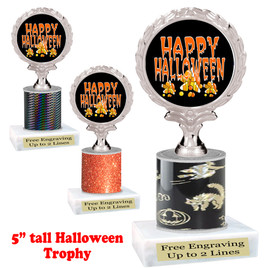 "Halloween theme trophy.  5"" tall trophy.  Delightful trophy for your Halloween pageants, events, contests and more.  005"