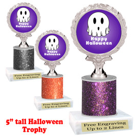 "Halloween theme trophy.  5"" tall trophy.  Delightful trophy for your Halloween pageants, events, contests and more.  006"