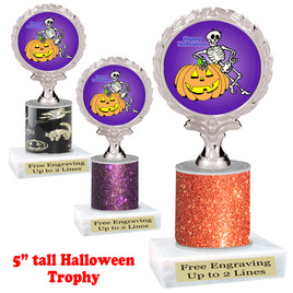 "Halloween theme trophy.  5"" tall trophy.  Delightful trophy for your Halloween pageants, events, contests and more.  007"