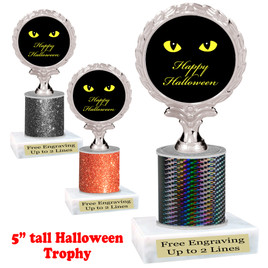 "Halloween theme trophy.  5"" tall trophy.  Delightful trophy for your Halloween pageants, events, contests and more.  008"