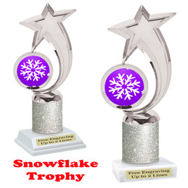 Snowflake theme trophy.  Silver Glitter Column.  Great for your Winter themed events! 6061