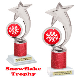 Snowflake theme trophy.  Red Glitter Column.  Great for your Winter themed events! 6061