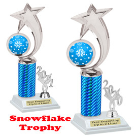 Snowflake theme trophy.  Great for your Winter themed events! Choice of year. 6061