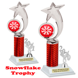 Snowflake theme trophy.  Great for your Winter themed events! Choice of year. 6061 red