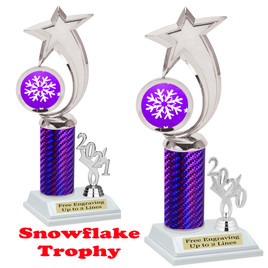 Snowflake theme trophy.  Great for your Winter themed events! Choice of year. 6061 purple