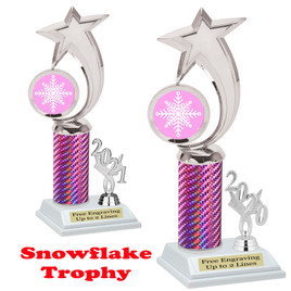 Snowflake theme trophy.  Great for your Winter themed events! Choice of year. 6061 pink