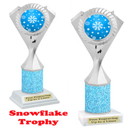 Snowflake theme trophy.  Lt. Blue Glitter Column.  Great for your Winter themed events! 5455