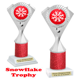 Snowflake theme trophy.  Red Glitter Column.  Great for your Winter themed events! 5455
