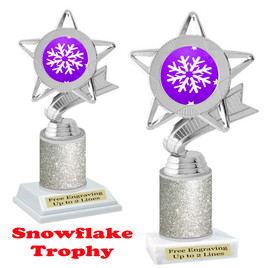 Snowflake theme trophy.  Silver Glitter Column.  Great for your Winter themed events! 5043