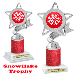 Snowflake theme trophy.  Red Glitter Column.  Great for your Winter themed events! 5043