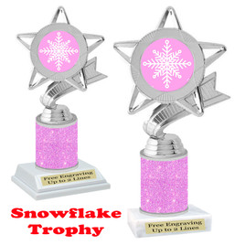 Snowflake theme trophy.  Pink Glitter Column.  Great for your Winter themed events! 5043
