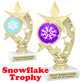 Snowflake theme trophy.  Great for your Winter themed events!  h208-snow