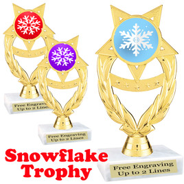 Snowflake theme trophy.  Great for your Winter themed events!  ph97-snow