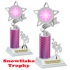 Snowflake theme trophy.  Great for your Winter themed events! Choice of year. 5043 pink
