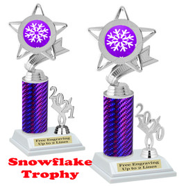 Snowflake theme trophy.  Great for your Winter themed events! Choice of year. 5043 purple